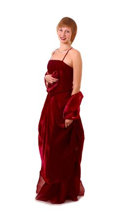 chatoyant: beautiful girl in dark red evening dress isolated on white