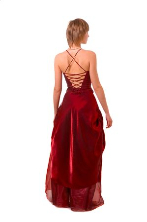 red evening: beautiful girl in dark red evening dress isolated on white