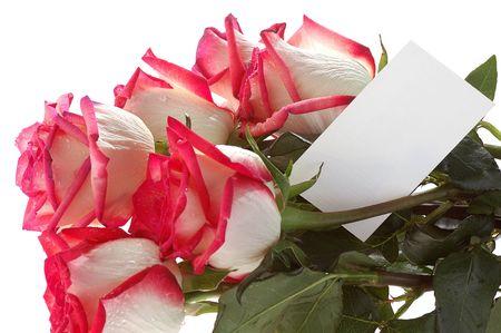 birthday flowers: boeket van rode rozen met witte wenskaart Stockfoto