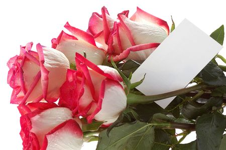 rosso bouquet di rose bianche con biglietto di auguri  Archivio Fotografico