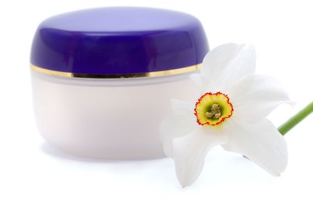 replenish: blank container for cosmetic cream with flowers