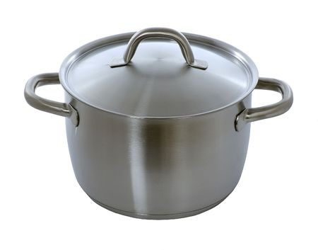 stainless pan isolated on white Stock Photo
