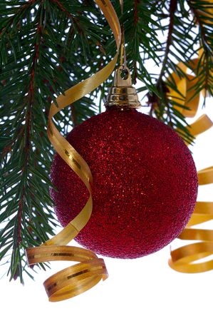 red ball on fir branch with ribbons and bow isolated on white Stock Photo - 3502385