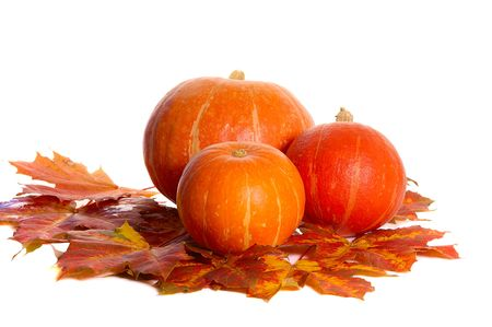 three pumpkins between colorful autumn maple leaves photo