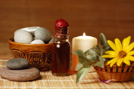 candle, pebble stones,  oil, flower for spa Stock Photo - 3588525