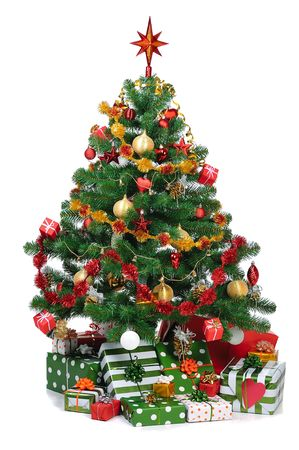 decorated Christmas fir tree with gifts Stock Photo - 3908767