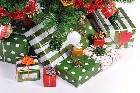 Christmas gifts under decorated Christmas fir tree   Stock Photo - 3908765