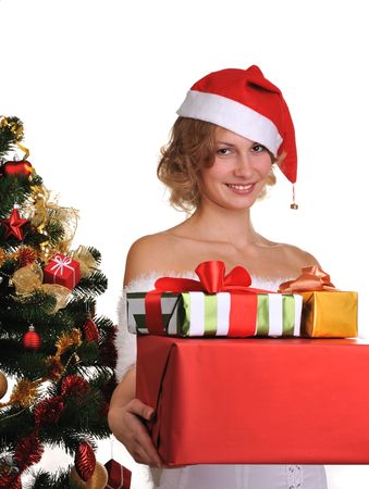 beatuful: beatuful girl holding christmas box gifts isolated on white