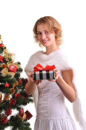 beatuful: beatuful girl holding christmas box gifts isolated on white  Stock Photo