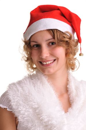 beatuful: portrait of beatuful girl  with santa red cap isolated on white