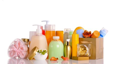 large set of various cosmetics isolated on white photo