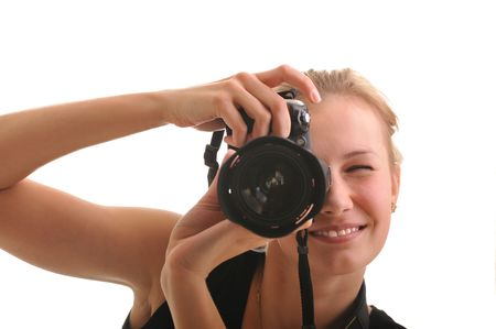 young blond girl with photocamera isolated on white photo