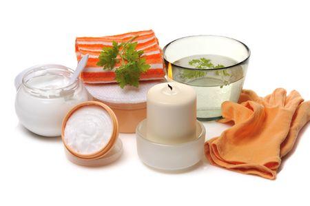 nourishing: moisturiser and  nourishing creams for bodycare and spa Stock Photo