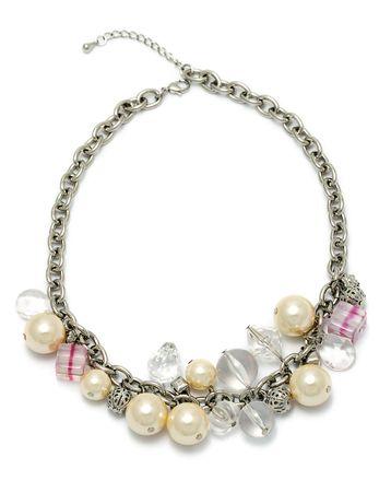 bijuteri: fashion bijouterie - necklace on white background Stok Fotoğraf
