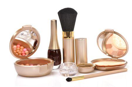 set of cosmetics isolated on white background photo