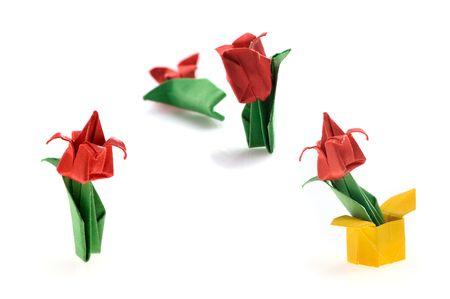 colorful tiny origami  tulips on white background photo