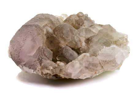 druse of quartz macro shot on white photo