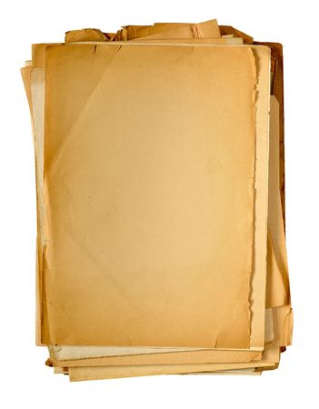 yellowed: stack of vintage yellowed paper isolated on white