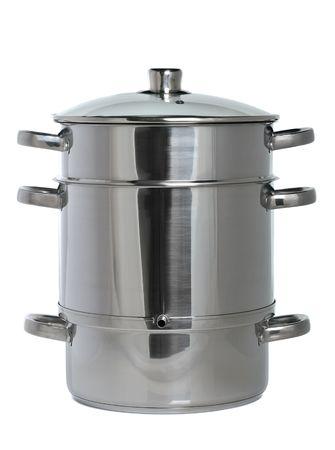 cottura a vapore inox con coperchio di vetro isolato su sfondo bianco
