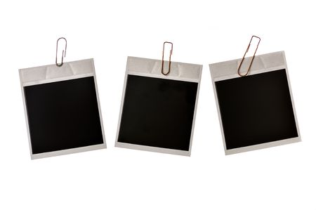 three photo frames with clamp isolated on white photo
