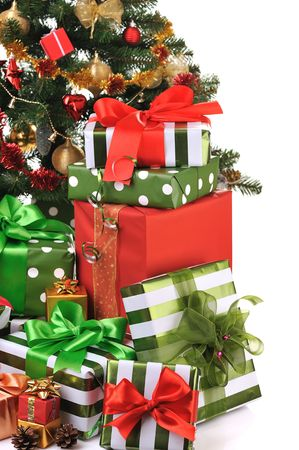 toygift: decorated Christmas fir tree with gifts