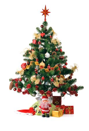 decorated Christmas fir tree with gifts photo