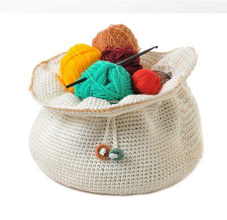 items for handmade crochet on white background photo