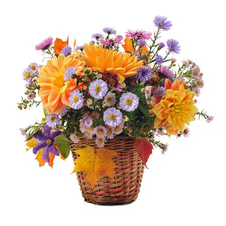 floral arrangement: bouquet of autumn flowers in basket isolated on white