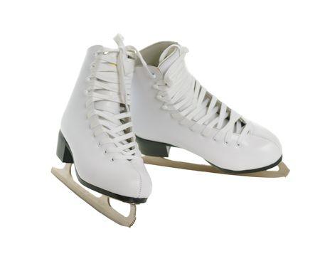 to skate: patines de figura blanca aislados sobre fondo blanco Foto de archivo