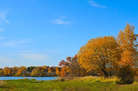 autumn colorful scenery with lake  in sunny   day  Stock Photo