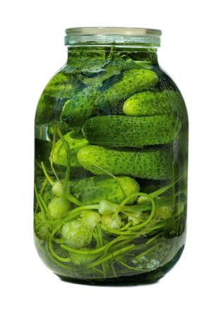 glass jar with pickled  cucumbers on white background photo