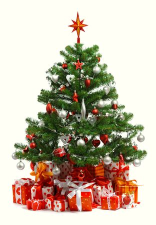 Christmas tree with heap of red gift boxes decorated with satin ribbon isolated on white background photo