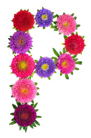 floral alphabet isolated on white background. letter P photo