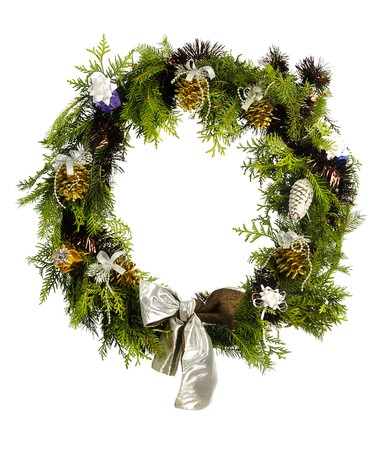 door leaf: christmas wreath isolated on white