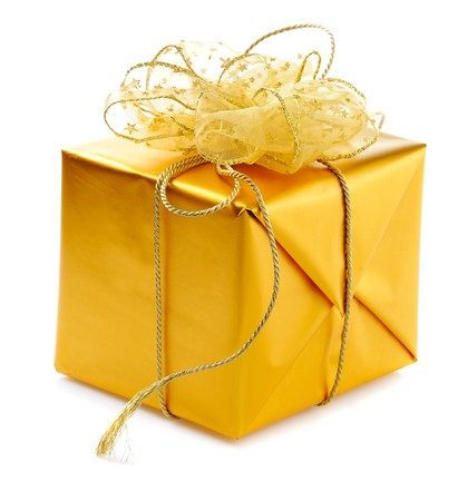 gold  gift box with golden ribbons and  bow isolated on white background photo