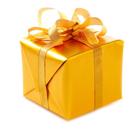 gift packs: gold  gift box with golden ribbons and  bow isolated on white background