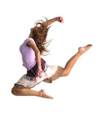 jumping girl on white background Stock Photo - 8309122