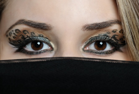 close up eyes of beautiful eastern woman