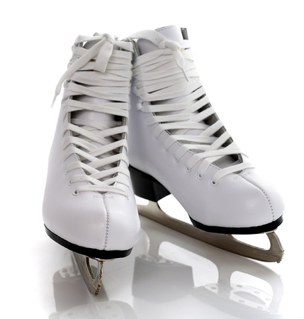 figure skates: figure white skates isolated on white background