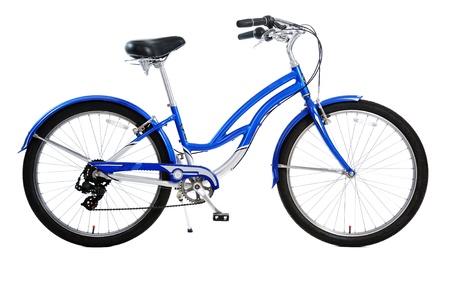 fiets: blauwe fiets geïsoleerd op witte achtergrond