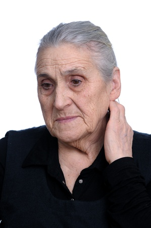 grizzled:   portrait of old woman close- up on white background