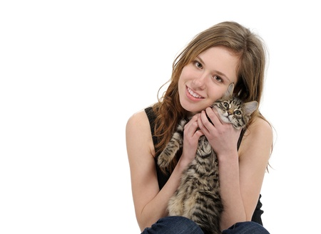 girl with small kitten isolated on white background Stock Photo - 9102008