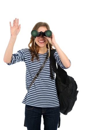 traveller young girl dressed in sailor's with binocular on white background Stock Photo - 9105281
