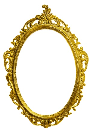 antique mirror: antique golden carved frame isolated on white background Stock Photo
