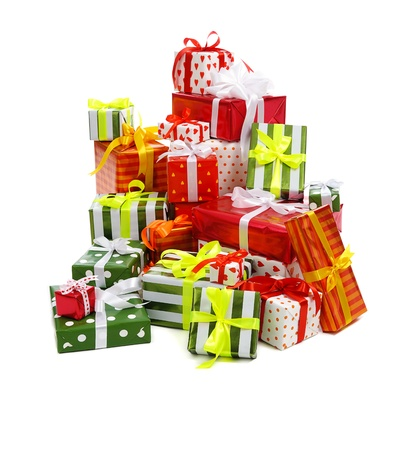 traditional gifts: stack of festive gift boxes decorated with satin bow isolated on white background  Stock Photo