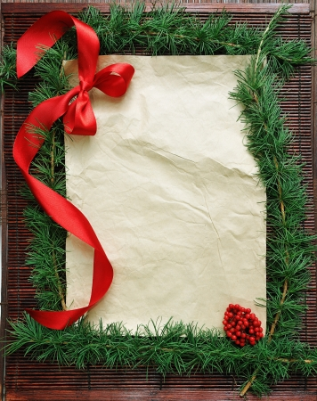bordering: old paper bordering with christmas decoration Stock Photo