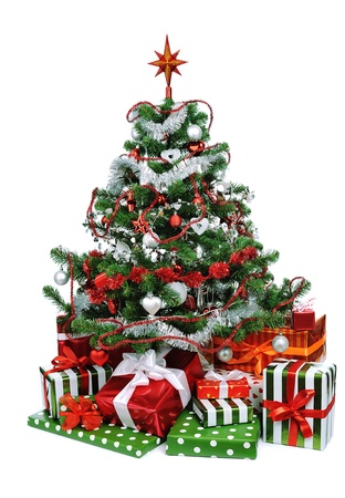Christmas tree with heap of festive gift boxes decorated with satin ribbon isolated on white background Stock Photo