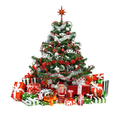heap of festive gift boxes under decorated Christmas tree  photo
