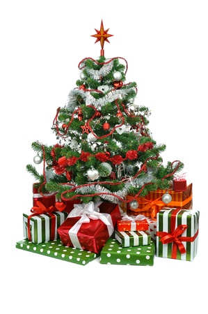 Christmas tree with festive gift boxes  isolated on white background photo