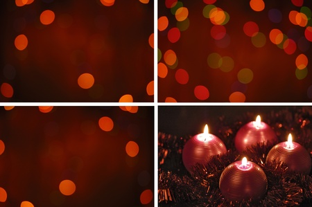 four red  candle on cristmas wreath on green  glowing background photo